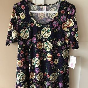 LuLaRoe Perfect T Medium Navy Roses